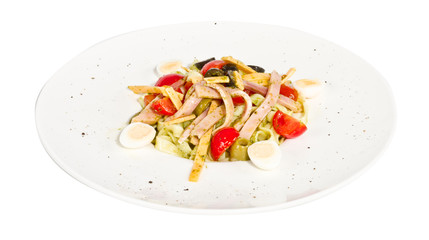 photo of delicious pasta (tagliatele) with bacon and tomatoes