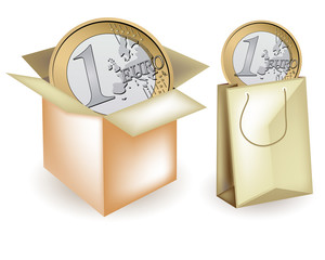 Box and shopper with euro, Vector package and wrapping
