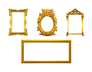 frame of golden wood  isolated on white background