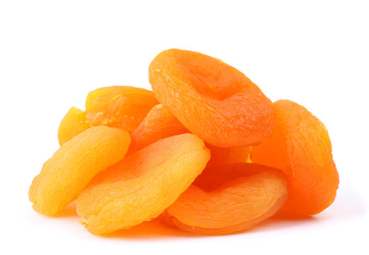 delicious dried apricots isolated on white