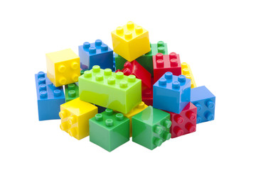 Colorful building toy, white background.