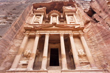 Facade of the Treasury - Al Khazneh - Petra - Jordan