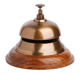 Antique brass bell with a button
