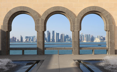 Doha skyline view from Museum of Islamic Art, Qatar