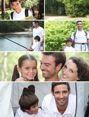 Collage illustrating a family camping holiday