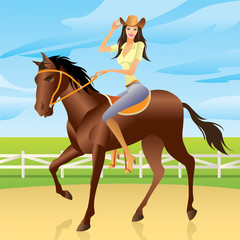 Aluminium Prints Wild West Girl riding a horse in Western style - vector illustration