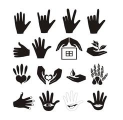 Hands and logos vector set