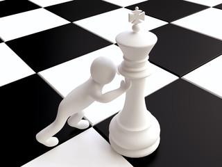 3D Man Pushing a Chess King Figure