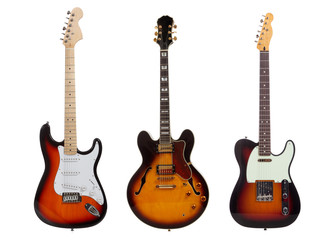 Group of three Electric guitars on white background