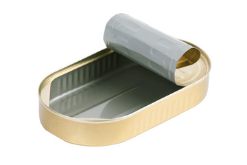 Empty tin can of sardines out