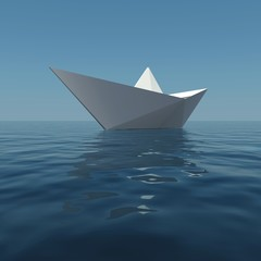Paper boat in the sea. 3D rendering