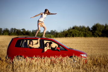 Red car on a wheat fields