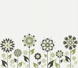 Vector of an abstract flowers on striped background