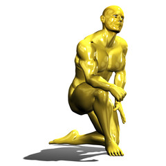 Gold hero man statue in kneel down