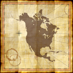 North America map on old paper with coffee stains