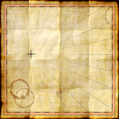 Empty map template on old paper with coffee stains