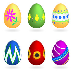 Set of six Easter eggs on a white background
