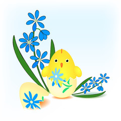 Easter chick hatched from an painting egg