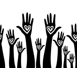 People hand like heart united seamless background.