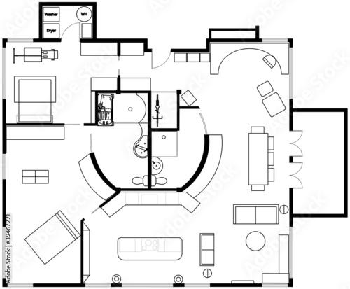 Concept 2 bedroom open concept condo floor plan stock for Condo plans free