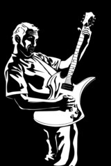 Portrait of the young man with a guitar