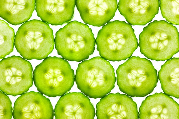 Foto op Canvas Plakjes fruit Slices of fresh Cucumber / background / back lit