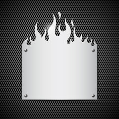 Blank stainless steel fire flames background vector