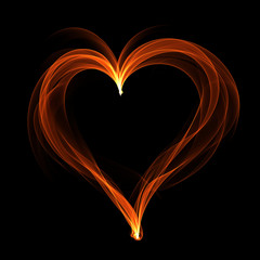Abstract heart on dark background.