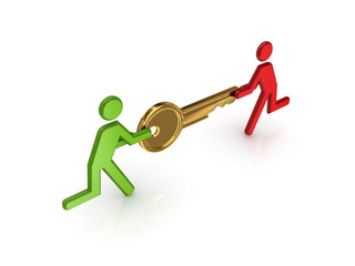 3d small people with golden key in a hands.