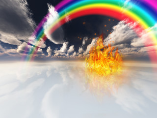 rainbow and fire in surreal space