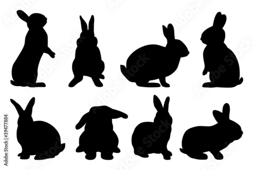 """set of rabbit silhouettes"" Stock image and royalty-free ..."