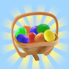 Easter eggs in wooden bow