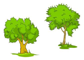 Green cartoon trees