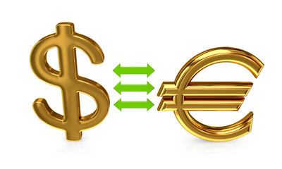 Euro sign and dollar sign.