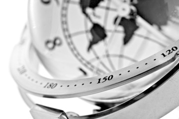 closeup image of global model clock on white background