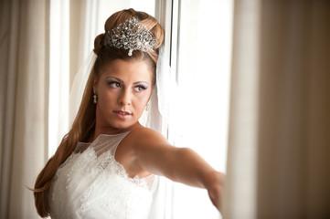 bride on the window