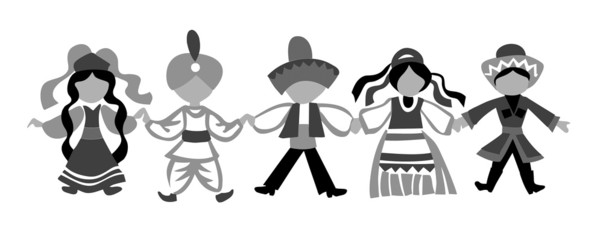 dancing children silhouette on white background