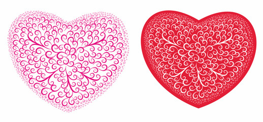 Hearts  with a decorative pattern