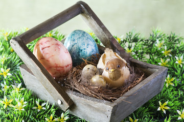 decorative bird with easter eggs