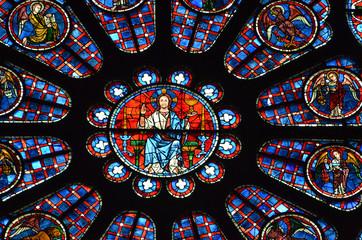 Foto op Plexiglas Stained vitrail- rosace