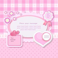 Pink background with scrapbook elements in vintage stile.
