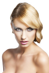 blond vintage girl portrait, she has actractive expression