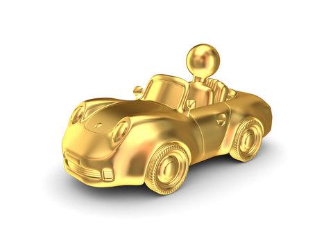 Golden car on white background.