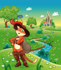 Poster Castle Puss in boots and background. Cartoon vector illustration.