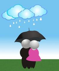 Husbands in the rain
