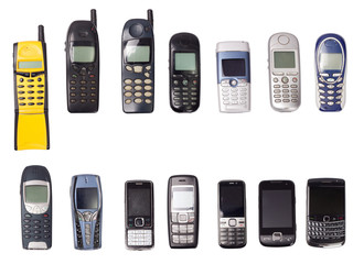 old mobile phones isolated