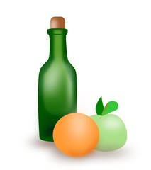 A green juice bottle, an orange and a green apple