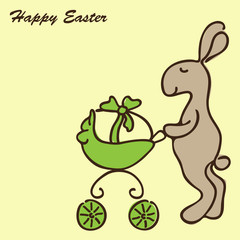 Easter Bunny with a Pram