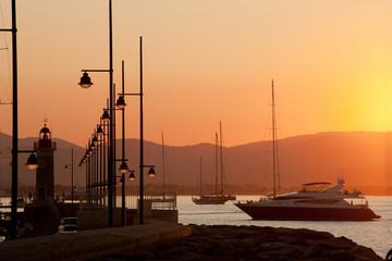 Saint Tropez lighthouse sunset