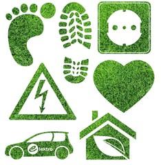 Grüne Objekte aus Gras